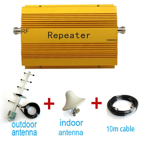Direct Marketing SUNHANS GSM960 900MHZ Mobile Phone RF Repeater gsm booster +indoor outdoor antenna +cable 1set Free shipping(China (Mainland))