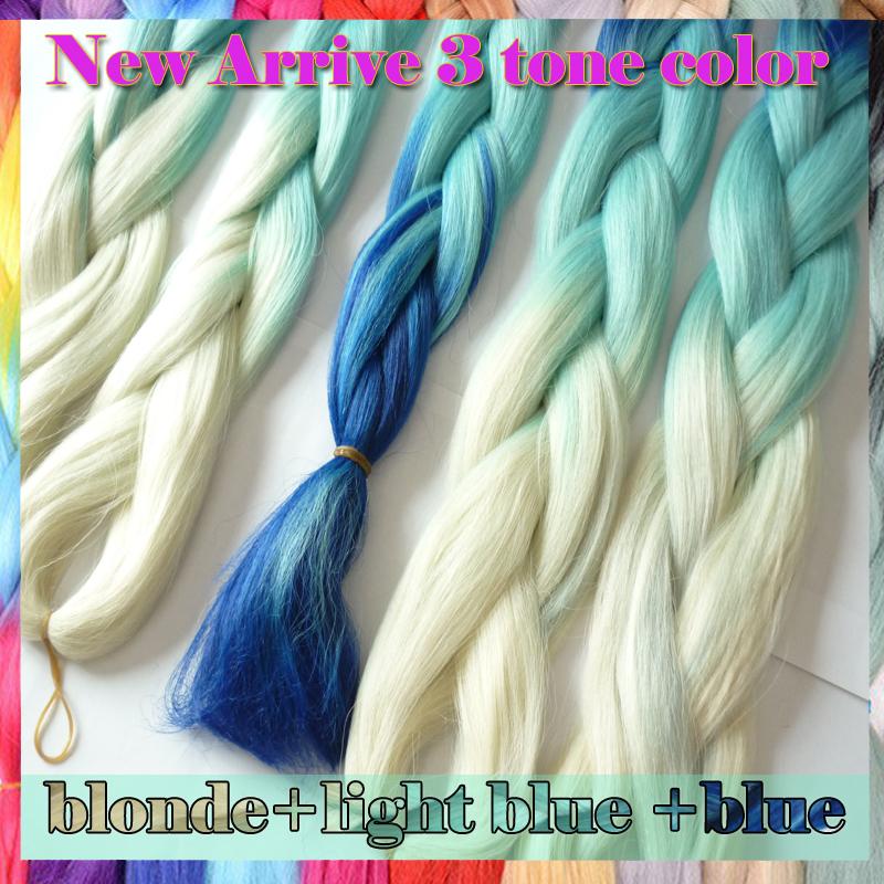 free shipping,4pc Ombre xpression kanekalon jumbo braiding hair 24 100g  three tone color blue jumbo braid hair extension<br><br>Aliexpress