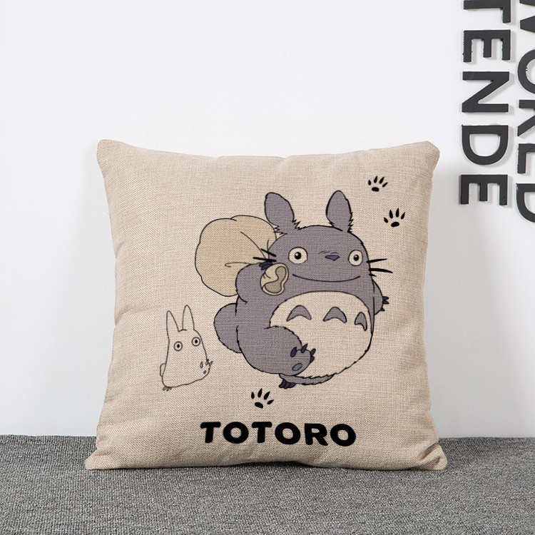 Free shipping Cute cartoon My Neighbor Totoro Printing pillowcases Kids gift flax household Bedclothes cushions pillow