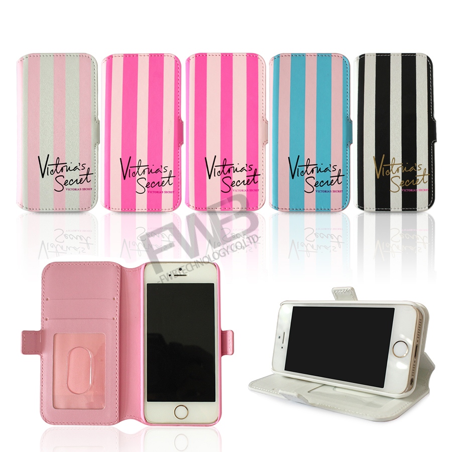 """In Stock! 2015 Victoria/'s Secret PINK Stripe PU Leather Flip Stand Wallet Case for iPhone 6 4.7"""" /6 Plus 5.5/ 5 5G 5S/4 4G 4S(China (Mainland))"""