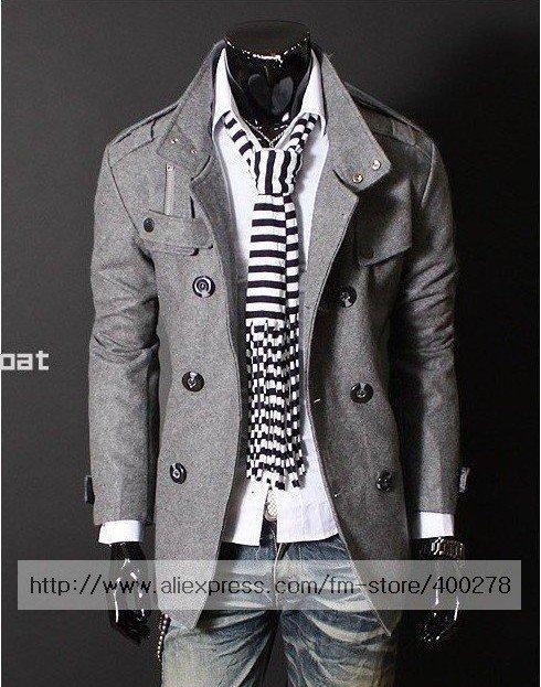 Mens Jacket  Double Platoon PEA Wool Half Trench Coat Badges Dust Coat warm Jacket Black Gray M ~ XXL WD35