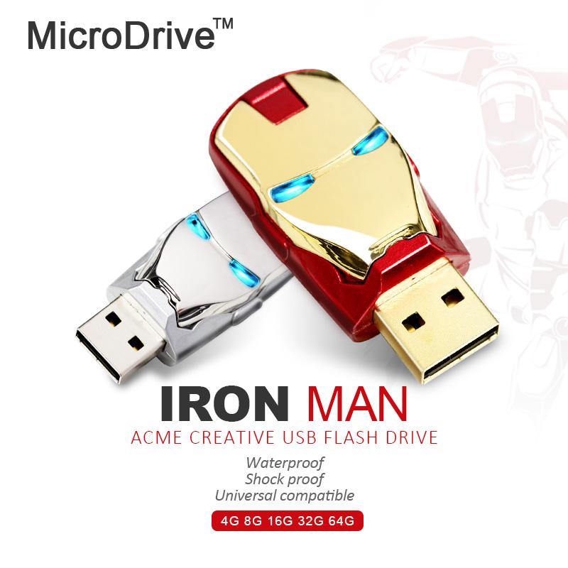 4GB 8GB 16GB 32GB 64GB Iron Man USB flash drive memory stick usb Ironman pen external storage LED Light - MicroDrive Storage store