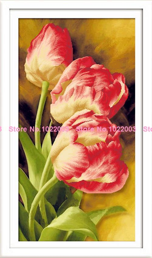 new needlework cross stitch 100% full drill diamond painting handiwork crafts embroidery kits Tulip Flowers AD050(China (Mainland))