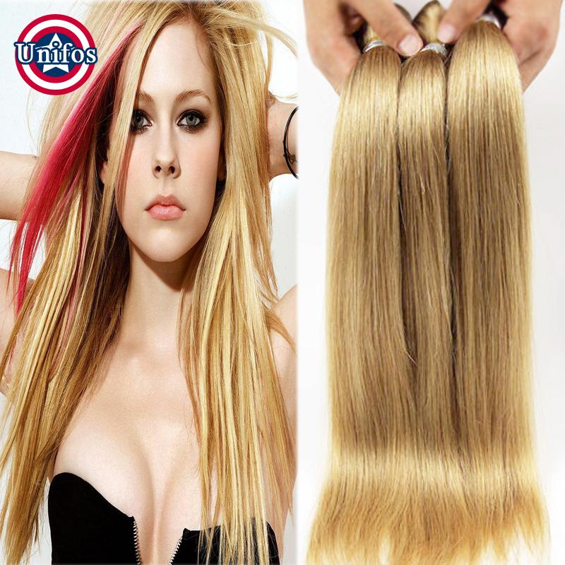 Гаджет  Honey Blonde Straight Virgin Hair 2 Bundles Blonde Human Hair Extensions Blond Color 27 Blonde Brazilian Virgin Straight Hair 6A None Волосы и аксессуары