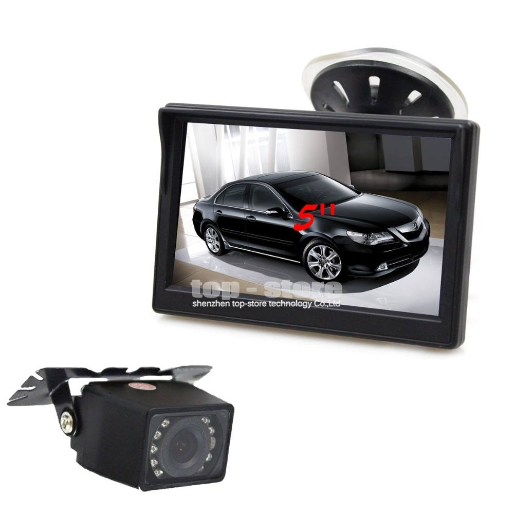 Universal 5 inch TFT LCD Car Monitor + IR Night Vision Rear View Camera Parking System + 6 Meters Video Cable(China (Mainland))