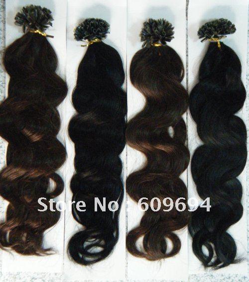 "18"" 20"" 22"" 24"" 100g wavy Italian keratin U tip Nail hair extensions 1g/s 100% Indian Remy Human remy Hair black brown in stock(China (Mainland))"