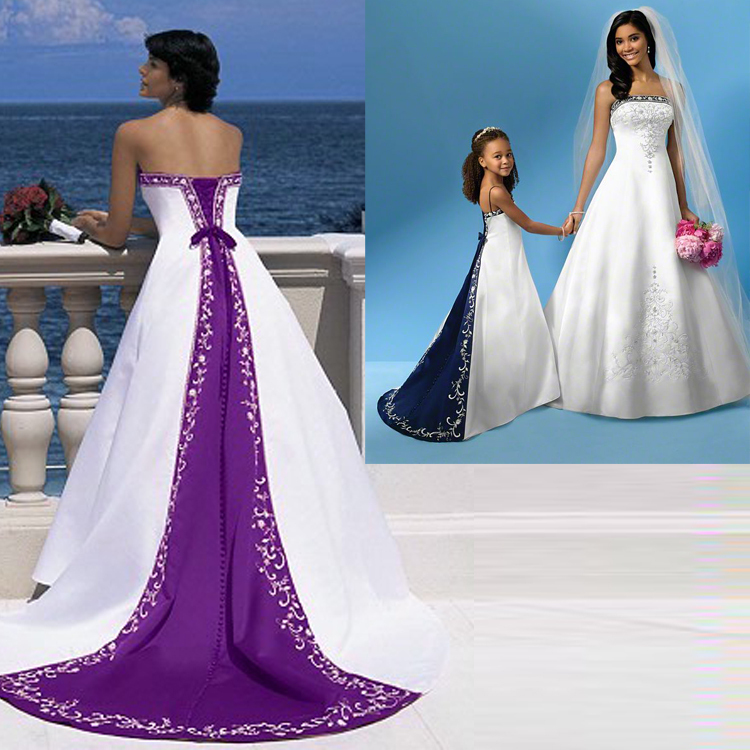 Best Selling High Quality A Line Strapless Floor Length Lace Up Satin Bridal Gown Embroidery