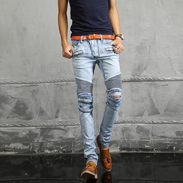Nwt парижской мужская мода впп байкер тонкий стрейч кислота голубой проблемные помыли ...