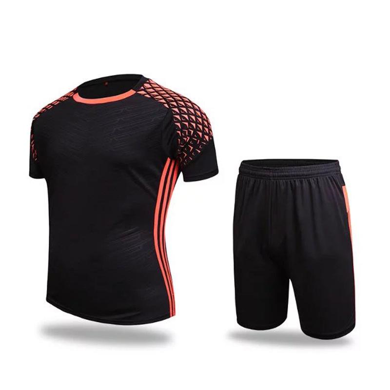 2017 new Short Sleeve Soccer training suit Sportswear tracksuit Running wear Football jersey & shorts(China (Mainland))