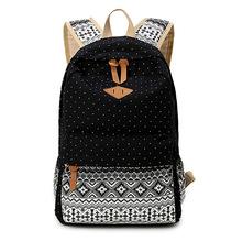 Vintage Girl School Bags For Teenagers Cute Dot Printing Canvas Women Backpack Mochila Feminina Casual Bag School Backpack(China (Mainland))
