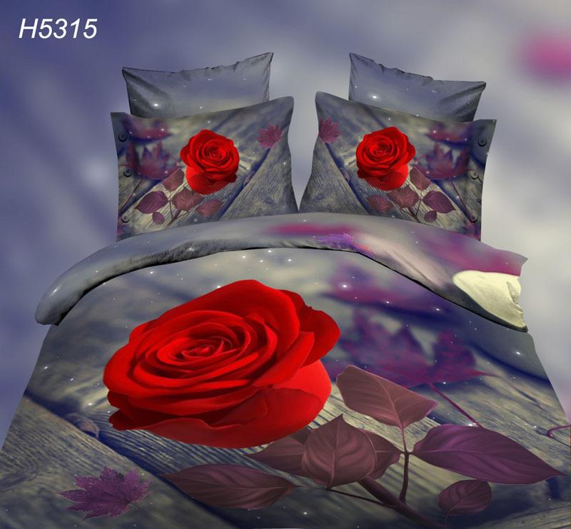 Digital HD 3D comforter cover red rose bedlien bedding sets 3d leaf bed cover 3d oil bed clothes old wood floor bedding 5315(China (Mainland))