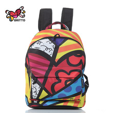 Purchase BRITTO PU Leather Graffiti Backpack 2016 Hot Sale College Wind Satin Backpacks Travel Bags Rucksack School bag(China (Mainland))