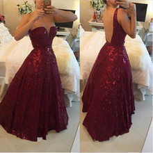 Burgundy Beaded Gowns Prom Dresses 2016 Plus Size vestidos de festa Sexy Crystals Backless African A Line Evening Party Long(China (Mainland))