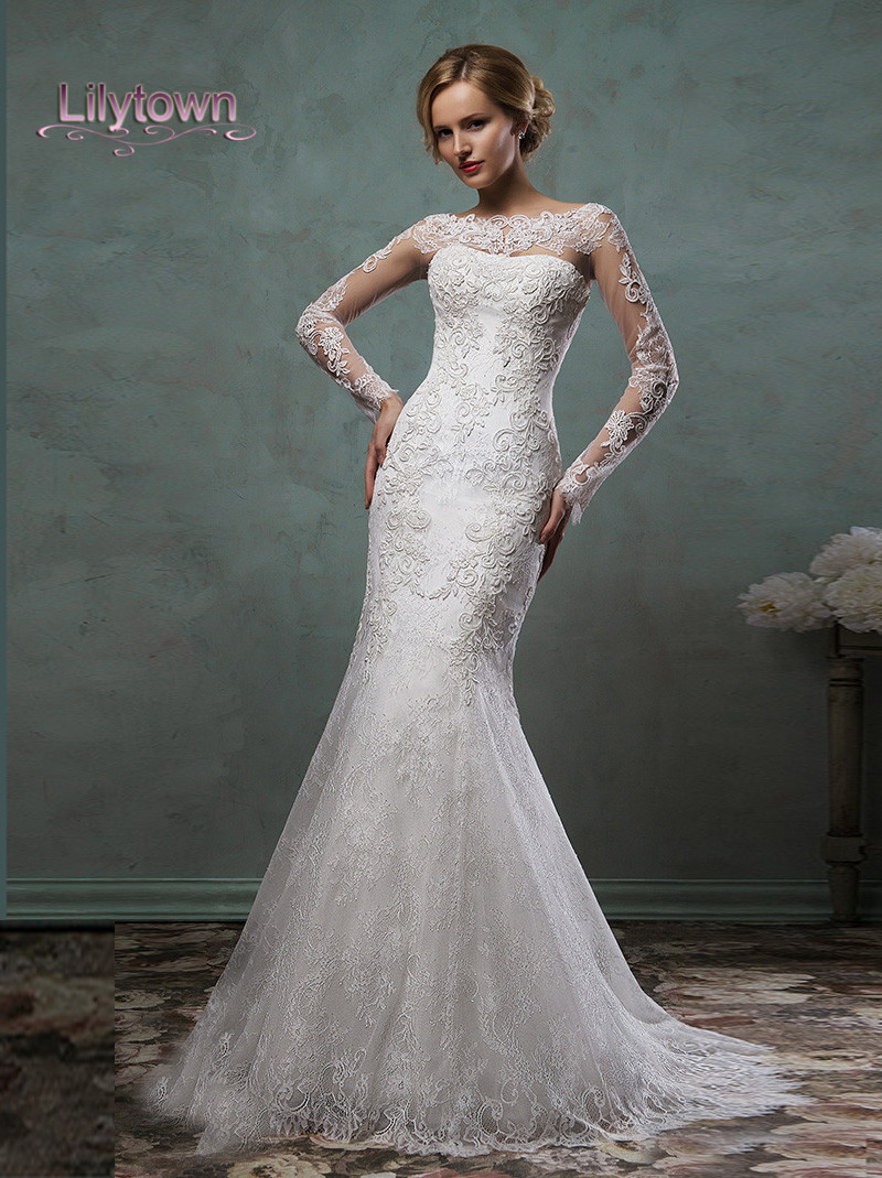 2016 wedding dresses sheer lace sleeves bateau neckline for Fit n flare lace wedding dress