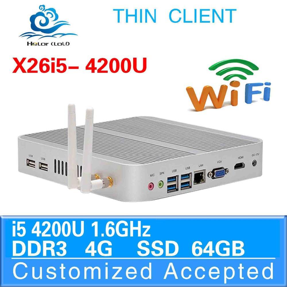 Computer fanless design with wifi mini pc Intel i5 4200u thin client industrial desktop computer education mini pc(China (Mainland))