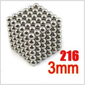 Free Shipping-Neodymium Buckyballs 3mm Magnetic Magic Balls with Tin box  Neocube Puzzle Cube (216 Pieces)-Silvery