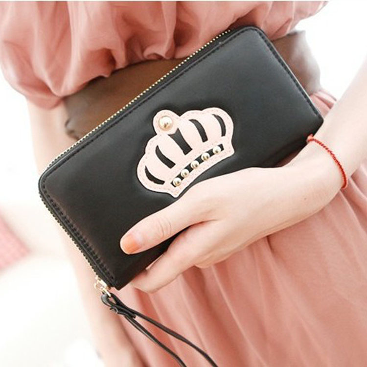 2016 New High Quality Lady Style, Ms. Wallet Female Long Wallet Card Pack Crown Attached Wrist Strap 5 Colors(China (Mainland))