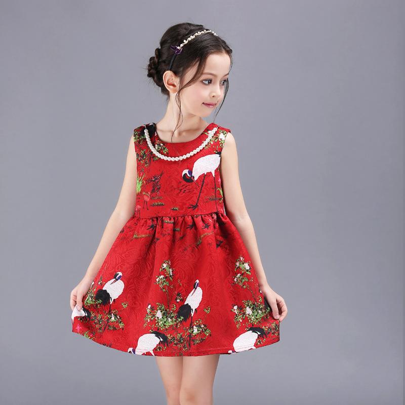 Здесь продается  2016 New Spring and Summer Girls Dress High Quality jacquard Red A-Line princess Dresses for Girl Clothing 85126  Детские товары