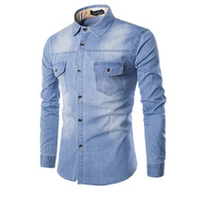 De alta Calidad de Los Hombres Delgados Camisas de Mezclilla Nueva Manera Más El Tamaño M-6XL de Lavado Ocasional Azul de manga larga Pantalones Vaqueros de Carga camisas de Ropa Masculina(China (Mainland))