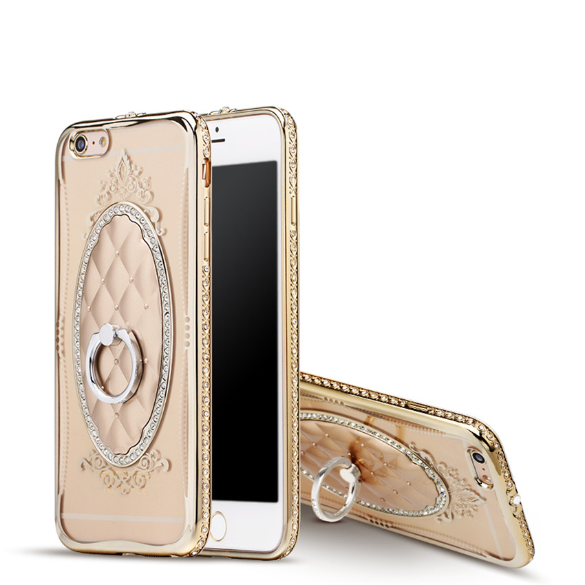Holder Phone Cases for iPhone 6 6S 6plus iphone7 iphone 5 Luxury Rope Diamond TPU cell phone cases with Coque Ring Stand Holder(China (Mainland))