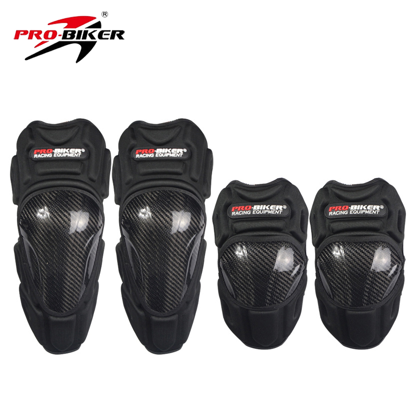 Pro-Biker High Quality Carbon Fiber Riding Kneepad Protective Motorcycle Elbow & Knee Pads Moto Safety Gears Racing Guards(China (Mainland))