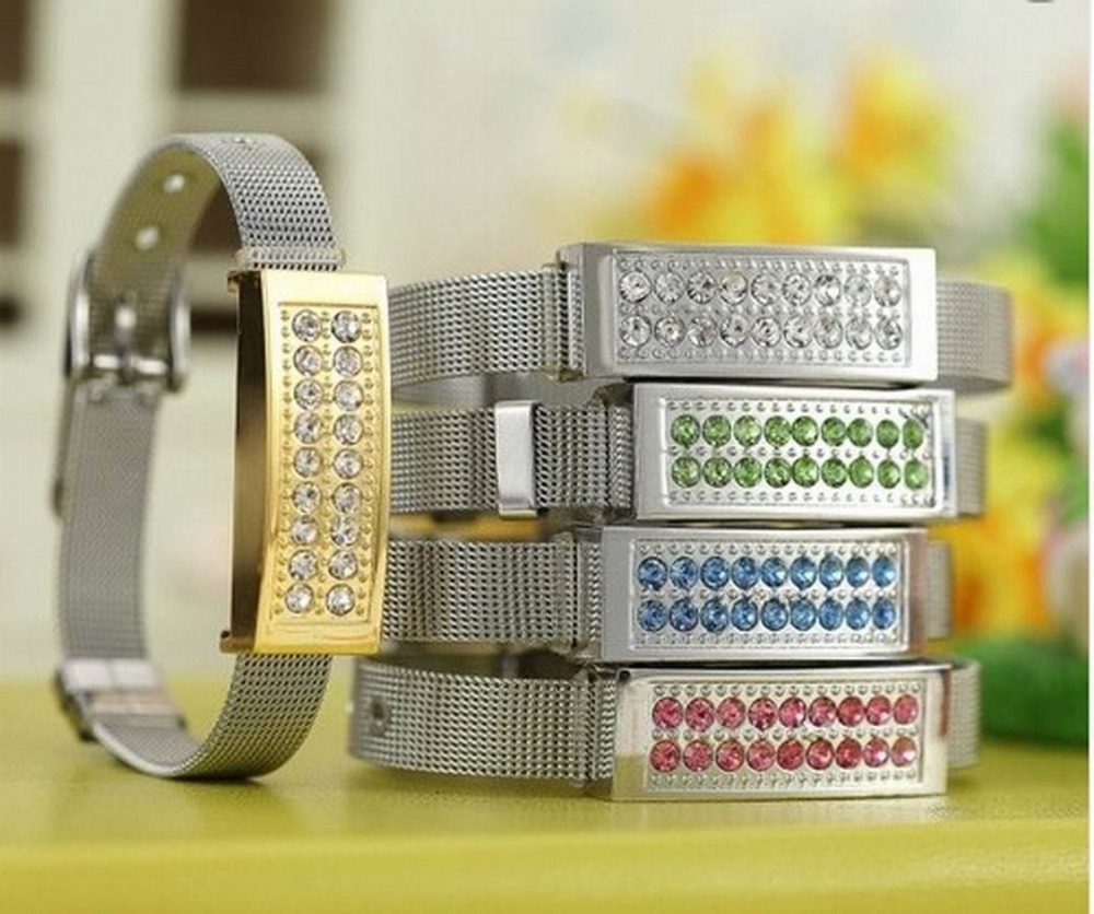 Best gift New Crystal diamond wristband usb 2.0 memory stick pen thumb drive box packing 4gb 8gb 16gb 32gb free shipping(China (Mainland))