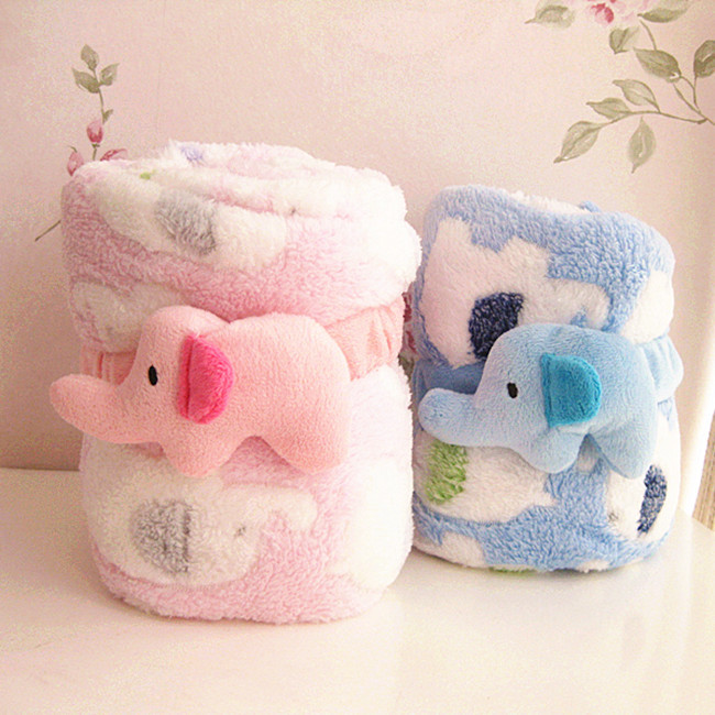 Super cute soft coral fleece elephant air condition blanket, roll cover blanket for car/home use,baby blanket,birthday gift ,1pc(China (Mainland))