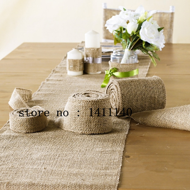35cm x 10M Natural Hessian Burlap Table Runner Vintage Rustic Natural Wedding chair decor burlap Ribbon for home banquet(China (Mainland))