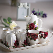Fashion Bone China Ceramic Coffee/Tea/Water Cup And Pot 6 Peices Sets European High Quality Fashion Household Gift