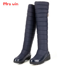 Buy Large size women boots high Russia knee warm thick fur snow boots patent leather winter shoes woman knee boots for $28.44 in AliExpress store