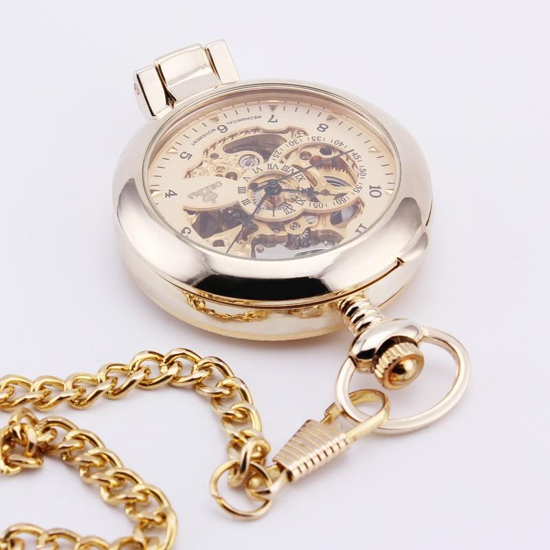 2016 Роскошный Нежный Карманные Часы Арабскими Цифрами Черный Серебристый Корпус Платье Полуавтоматическая Механические Стимпанк Фоб Часы W/Chain
