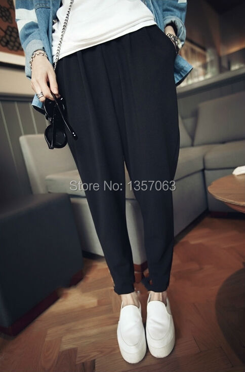 2015 new arrival summer women harem pants slim fit sweatpants drop crotch black white cotton blend trousers free size WPA0007(China (Mainland))