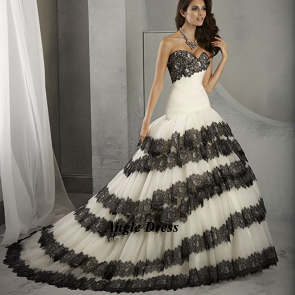 Wedding dress white black lace junoir bridesmaid dresses for Unique black and white wedding dresses