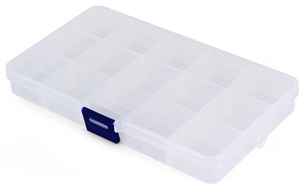 Transparent Plastic Storage Box 15 Compartments Jewelry Earring Tool Containers