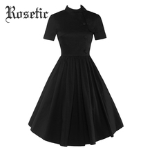 Buy Rosetic Gothic Dress 2017 Black Summer Women Party Button Dresses Red Prom Pleated Collar Knee-Length Button Vintage Goth Dress for $26.49 in AliExpress store