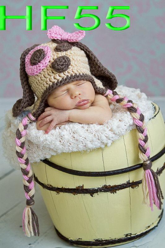 free shipping, Children's Earflap Hat ,Crochet Dog Hat, Toddler Animal Hat, 100% cotton Crochet Baby caps(China (Mainland))