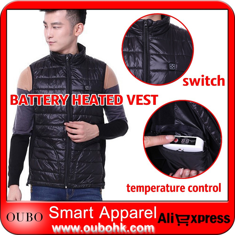 Men Winter Warm Vest 2 Pads Heated Powered 7.4V Rechargeable Battery Padded Sleeveless Coat Quilted Waistcoat OUBOHK - NINGBO OUBO APPAREL CO., LTD store