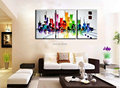 3 piece canvas wall art hand painted Acrylic colorful New york abstract modern city oil painting