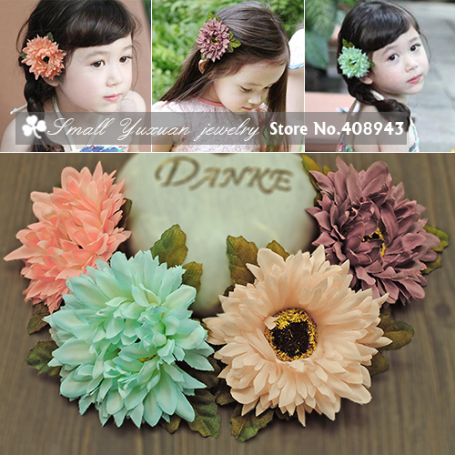 Free shipping African Daisy Flowers Hair clips Bridal Party Head flowers Baby Girl hairpin woman children Hair Accessories!D-522(China (Mainland))