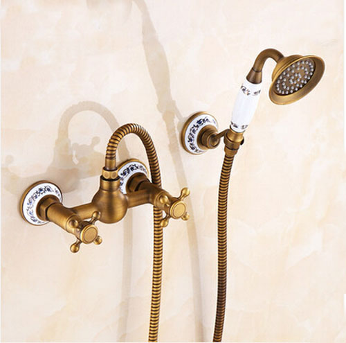 Фотография Wall Mount ANtique Brass Bathtub Faucet Double Handles With Hand Ceramic Sprayer Mixer Tap