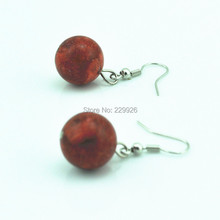 Toonykelly ER810-2 Red Coral Dangle Drop Earrings(Coral Bead, not plastic or resin)Vintage look Coral is expensive in the market(China (Mainland))