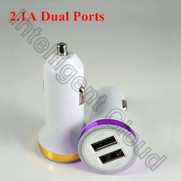 100PCS/Lot 2.1A Dual Ports Car Charger 2 USB Travel Plug Power Adapter For iPhone 6 iPad Air Samsung LG G2 Sony Compact HTC(China (Mainland))