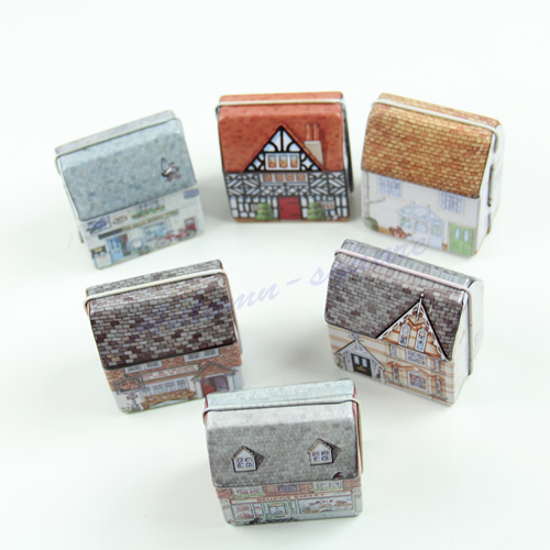 Free Shipping 6pcs/lot Lovely Mini Full Painted Small House Tin box Jewelry box 6 options Y106(China (Mainland))
