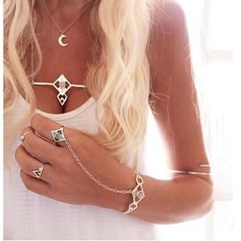 Bohemian Ethnic Open Bracelet Gypsy Boho Rhombus Slave Chain Link Bracelets Bangles Wedding Bridal Jewelry