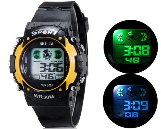 2015 Children Watch Outdoor Sports Kids Boy Girls LED Digital Alarm Stopwatch Waterproof Wristwatch Children's Dress Watches(China (Mainland))