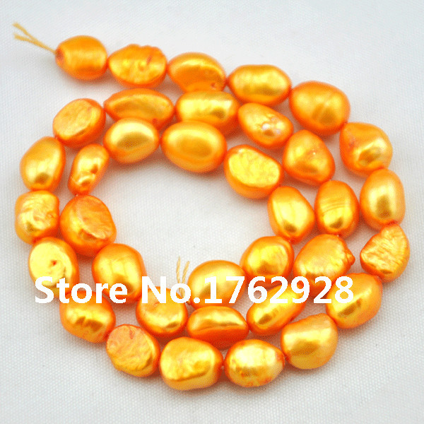 Wholesale Freshwater Pearl Baroque pearl Potato Loose Pearl Orange 9.5-10mm 35pcs/ 1 strand / 14 inches(China (Mainland))