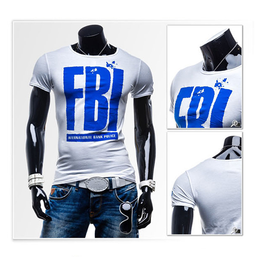 2015 Men Korean style FBI painted short sleeves O-neck slim fit T-shirt stretch cotton tee&top Black,Grey,blue,White M,L,XL,XXL - Jack's Fashion Shop store