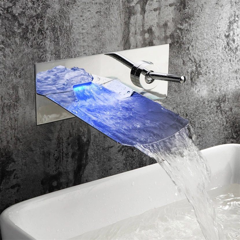 bath mixer led color changing wall mounted bathroom bathtub faucet