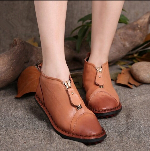 Handmade genuine leather women's shoes first layer of cowhide shoes low-top vintage comfortable flat-bottomed single shoes