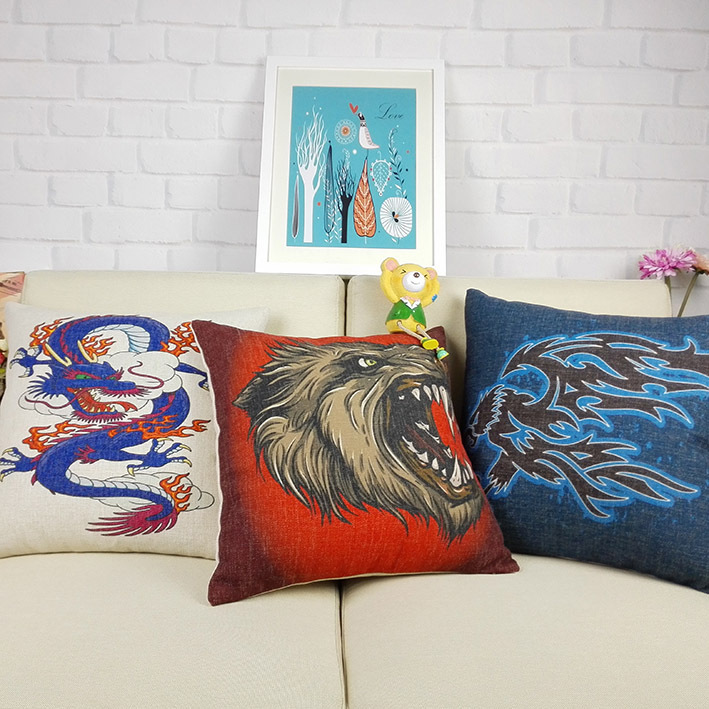 18 orientalischen stil dekokissen covers drachen hawk wilde tier kopf dekorative sofa kissen for Kissen orientalischen stil